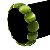 Light Green Cat Eye Glass Bead Flex Bracelet -18cm Length