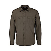 Travel Mens Long Sleeve Convertible Breathable Lightweight Walking Hiking Shirt - Green