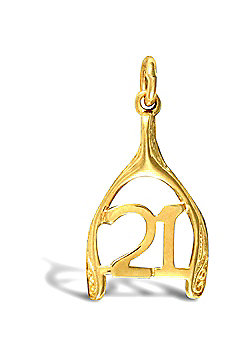 Jewelco London 9ct Solid Gold 21 wishbone Pendant,a perfect gift for that special milestone birthday!