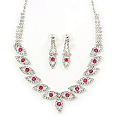 Bridal Pink/Clear Diamante 'Leaf' Necklace & Earrings Set In Silver Plating