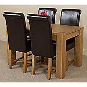 Kuba Chunky Solid Oak 125 cm Dining Table with 4 Brown Washington Chairs
