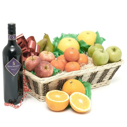 fruit basket with red wine (FB20)
