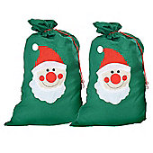 Large Felt Christmas Gift Bag Santa Sack - Set of Two Green