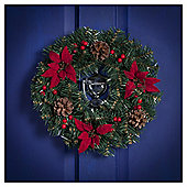 Poinsettia Berry and Ivy Christmas Wreath, 36cm