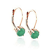 QP Jewellers 1.20ct Emerald Boston Leverback Earrings in 14K Rose Gold