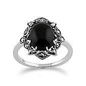 Gemondo 925 Sterling Silver Art Nouveau Onyx & Marcasite Ring