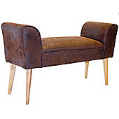 Urban - Vintage Faux Leather Lounger Bench / Chaise Chair - Brown