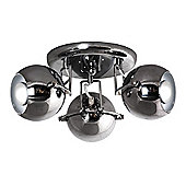 Retro Eyeball Three Way Ceiling Spotlight in Black Chrome