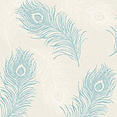 Viola Feather Blown Vinyl Wallpaper - Teal and Cream - 40914