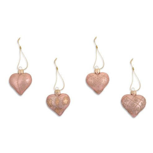 Set of Four Metallic Peach Heart Shaped Christmas Tree Baubles