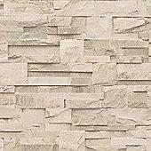Muriva Slate Stone Wallpaper - Beige - J274-07