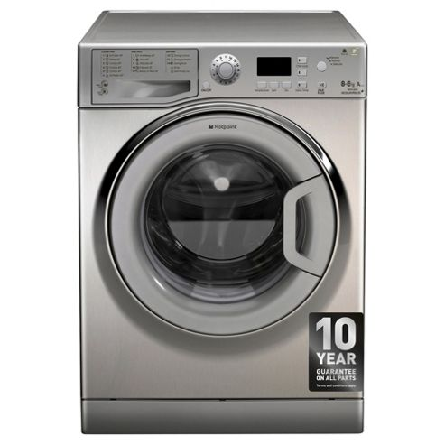 Hotpoint WDPG8640X Washer Dryer, 8Kg Wash Load, 1400 RPM Spin, A Energy Rating, Stainless Steel