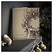 Tesco Luxury Gold Wreath With Pearls Christmas Cards, 6 Pack