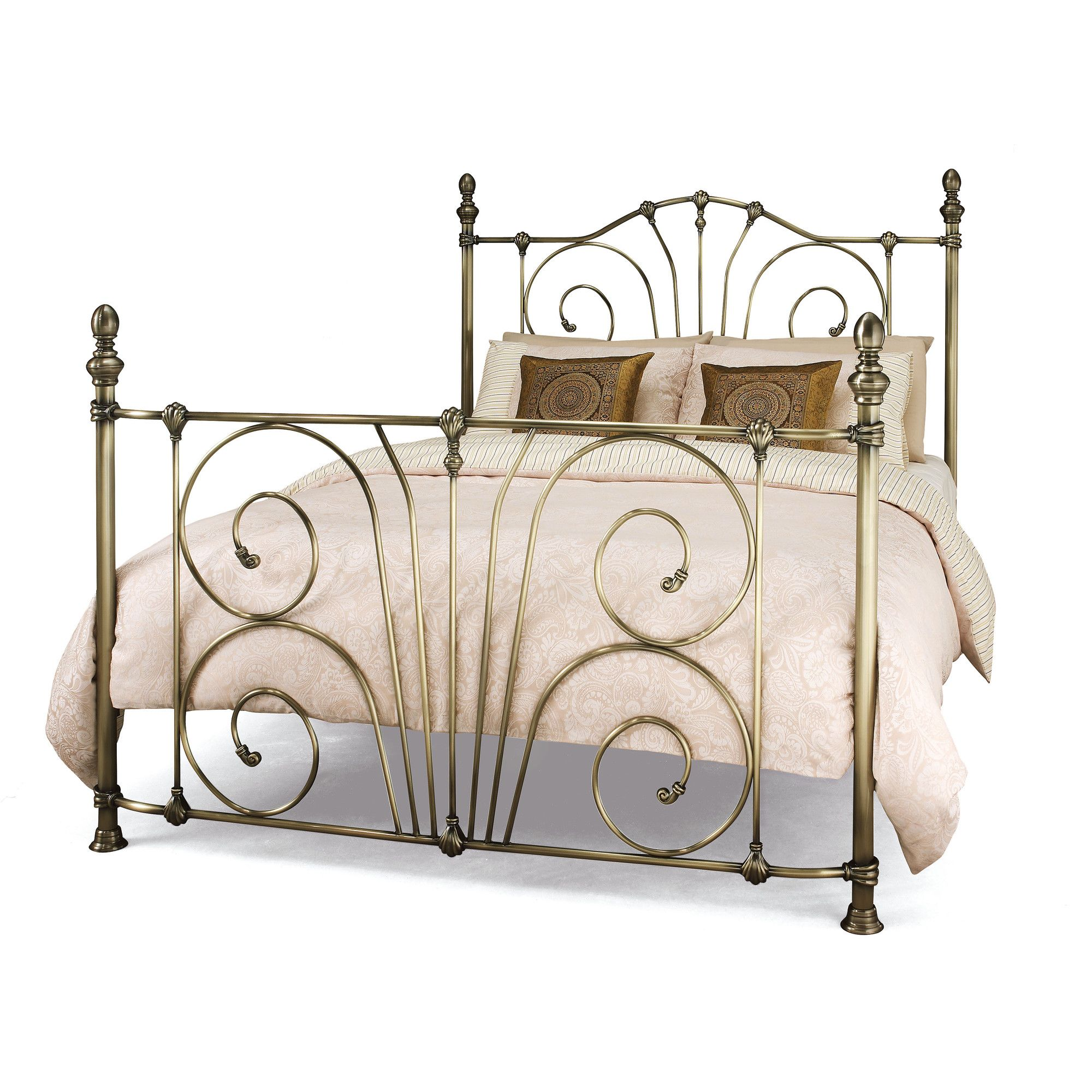 Serene Furnishings Jessica Bed Frame - Double - Antique Brass at Tescos Direct