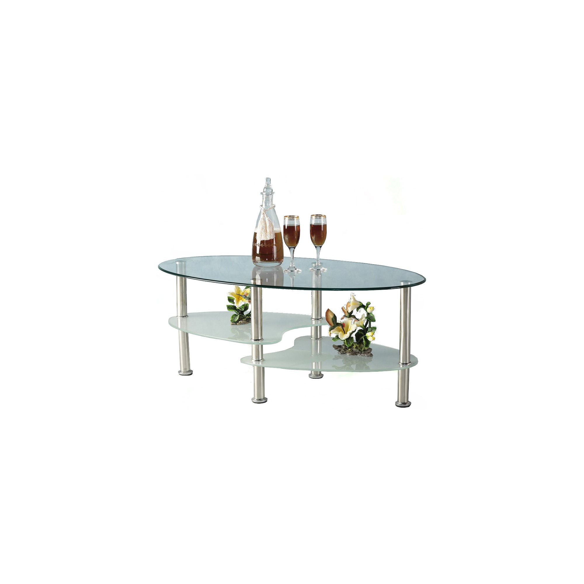 Home And Garden Furniture Cara Oval Clear And Frosted Glass Coffee Table Special Offers