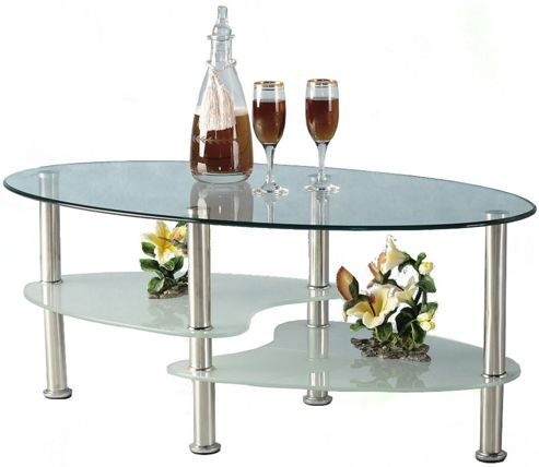 Cara Oval Clear and Frosted Glass Coffee Table