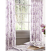 Kew Gardens Peony Script Pencil Pleat Lined Curtains 66x72 - Lavender