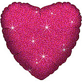 """Fuschia Dazzler Heart Balloon - 18"""" Foil (each)"""
