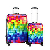 Swiss Case 4-Wheel 2Pc Abs Suitcase Set, Multi Block