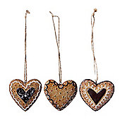 Set of Three Hanging Gingerbread Heart Cookie Christmas Tree Decorations