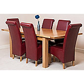 Seattle Solid Oak Extending 150 - 210 cm Dining Table with 6 Burgundy Montana Leather Chairs