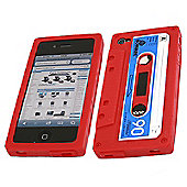 iTALKonline 19171 Retro Cassette Silicone Case - Apple iPhone 4 (Red)