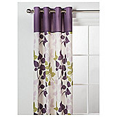 "Tesco Bold Leaf Print Unlined Eyelet Curtains W168xL183cm (66x72""), Plum/Olive"