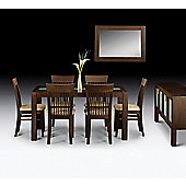Santiago Wenge Finish Rectangle Dining Table with Glass Inlay