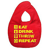 Dirty Fingers Eat Drink Throw Repeat Baby Bib Red