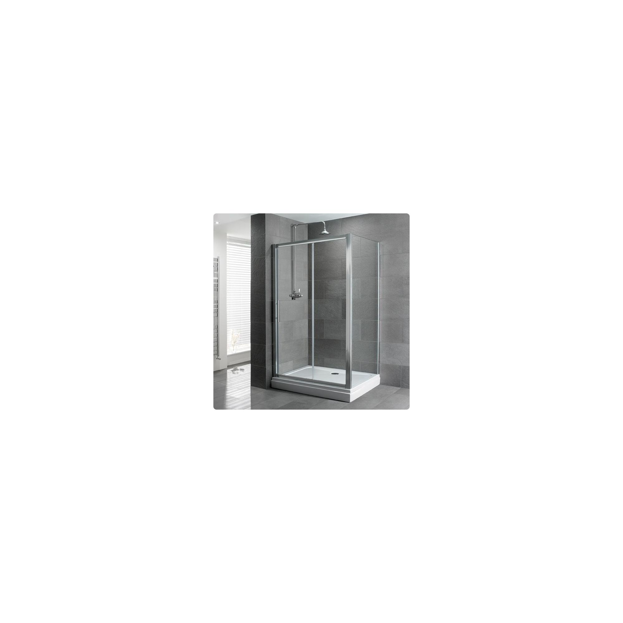 Duchy Select Silver Single Sliding Door Shower Enclosure, 1400mm x 800mm, Standard Tray, 6mm Glass at Tesco Direct