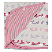 Pigeon Organics Reversible Blanket, Silhouette (Pink Bird Mix)