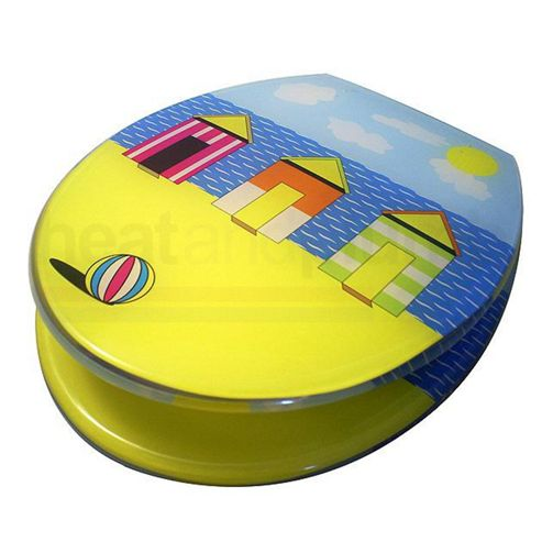Beach Huts Fun Toilet Seat with Metal Round Hinges