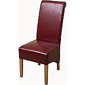 x6 Montana Scroll Back Burgundy Leather Dining Chairs