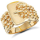9ct Solid Gold combined 4 row Keeper & Buckle design Ring
