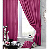 Catherine Lansfield Home Plain Faux Silk Curtains 66x72 (168x183cm) - Pink - Tie backs included