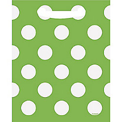 Green Polka Dot Party Bags - Plastic Loot Bags