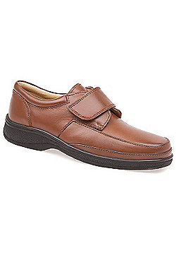 Pavers Touch Fasten Leather Shoe with Wide Strap Brown Suede - 10 - Tan