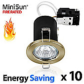 Pack of 10 MiniSun Fire Rated Energy Saving ECO GU10 Downlights in Antique Brass