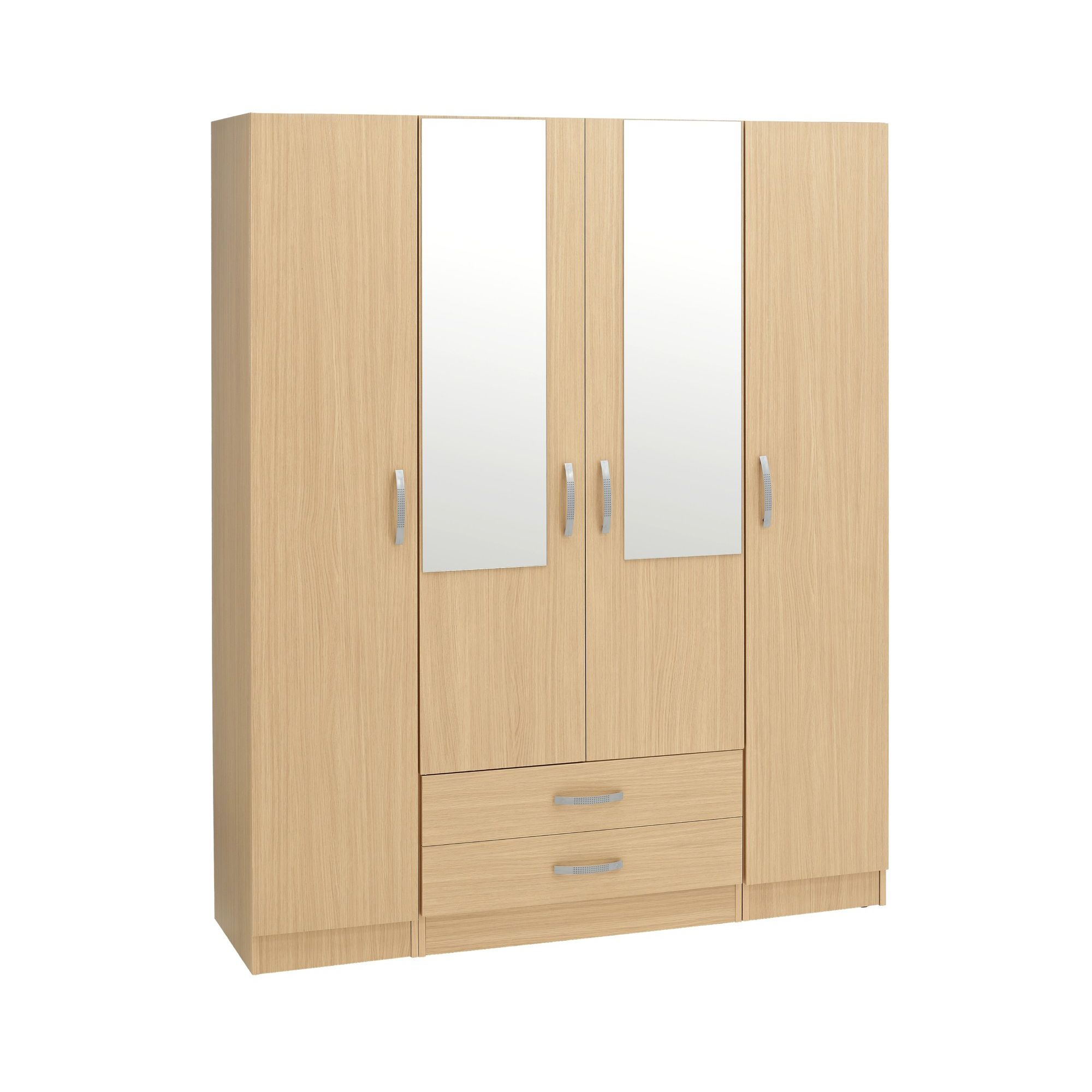 Ideal Furniture Budapest 2 Mirrors Wardrobe - Walnut at Tesco Direct