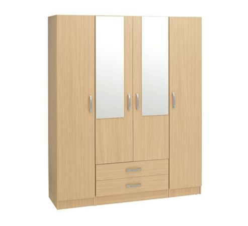 Ideal Furniture Budapest 2 Mirrors Wardrobe - Walnut
