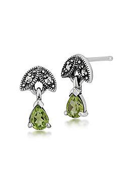 Gemondo Sterling Silver 0.27ct Peridot & Marcasite August Stud Earrings