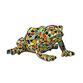 Multi Coloured Harlequin Mosaic Resin Garden Frog Ornament