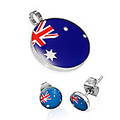 Urban Male Stainless Steel Flag of Australia Pendant & Earring Set For Men