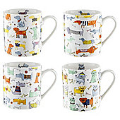 Tesco Quirky Dogs 4 Pack Mugs