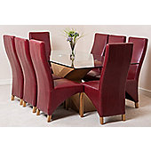 Valencia Glass & Oak 200 cm Dining Table with 8 Burgundy Lola Leather Chairs