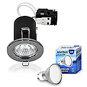 Pack of Ten MiniSun Fire Rated 5W Daylight LED GU10 Downlights, Black Chrome