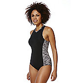 F&F Active High Neck Zip Back Swimsuit - Black