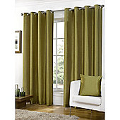 Faux Silk Green Lined Ring Top Curtains - 90x90 Inches
