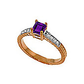 QP Jewellers Diamond & Amethyst Ornate Gemstone Ring in 14K Rose Gold