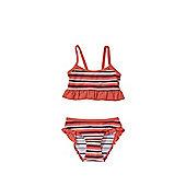 F&F Striped Frill Bikini Set - Pink